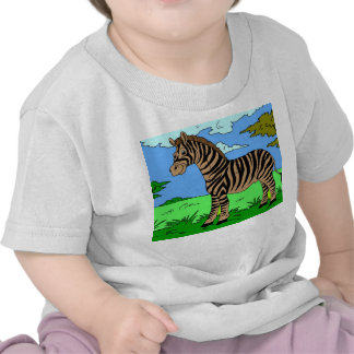 Cebra infantil del blanco de la camiseta