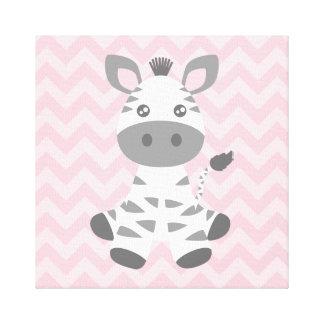 Cebra linda del bebé impresión en lienzo estirada