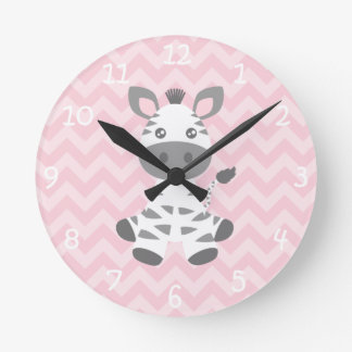 Cebra linda del bebé reloj de pared