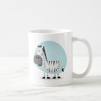Cebra linda del dibujo animado taza básica blanca