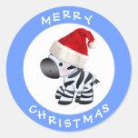 Cebra linda en pegatinas azules del navidad del etiqueta redonda