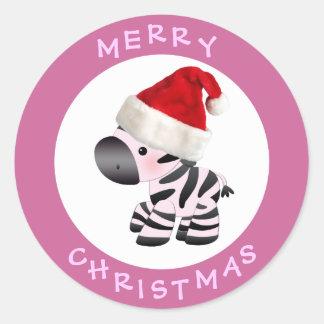 Cebra linda en pegatinas del navidad del rosa del pegatina redonda