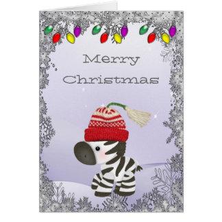 Cebra linda en tarjeta de Navidad del gorra de las
