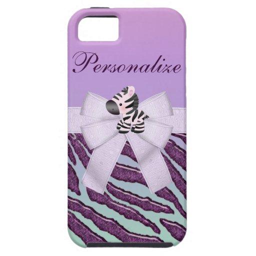 Cebra linda y caja púrpura del iPhone 5 del estamp iPhone 5 Protectores