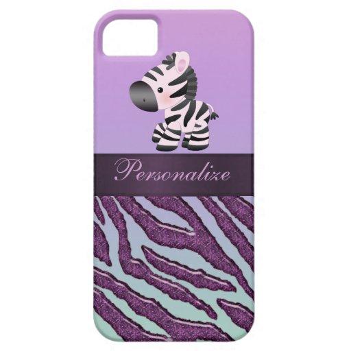 Cebra linda y estampado de animales púrpura funda para iPhone SE/5/5s