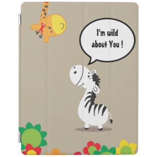 Cebra linda y jirafa del día de San Valentín feliz Cover De iPad