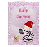 Cebra, magdalena rosada y tarjeta de Navidad de