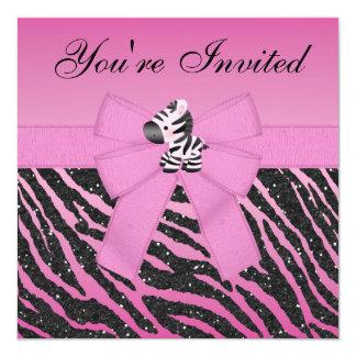 Cebra, magdalenas rosadas y fiesta del brillo del invitación 13,3 cm x 13,3cm