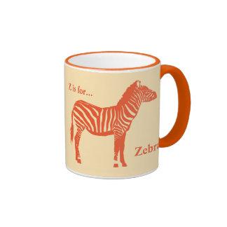 Cebra - mandarín y anaranjado claro taza de dos colores