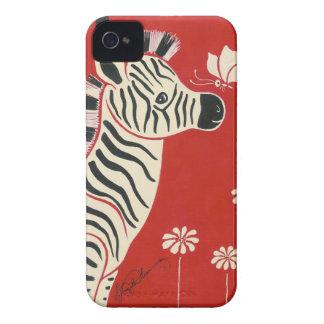 Cebra, margaritas y mariposa iPhone 4 Case-Mate coberturas