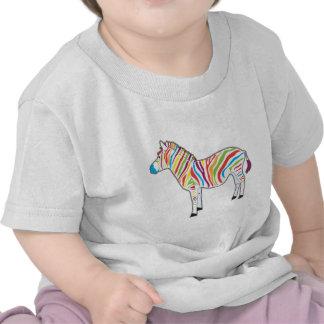 Cebra multicolora camisetas