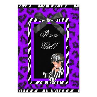 """Cebra negra púrpura del bebé del chica de la invitación 3.5"""" x 5"""""""
