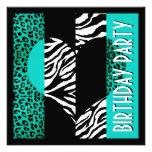 Cebra negra y blanca del leopardo azul de la aguam invitaciones personales