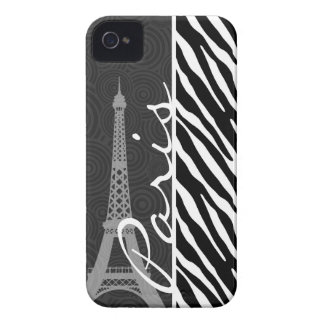 Cebra negra y blanca; París iPhone 4 Case-Mate Cobertura