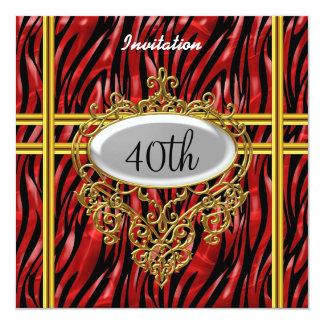"""Cebra negra y roja de la fiesta de cumpleaños invitación 5.25"""" x 5.25"""""""