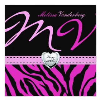 Cebra negra y rosada elegante 40.o Bithday feliz Anuncio Personalizado