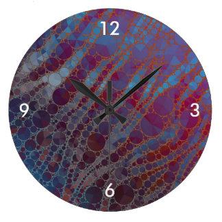 Cebra psicodélica del rojo azul reloj redondo grande