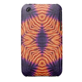 Cebra púrpura anaranjada fluorescente iPhone 3 carcasas