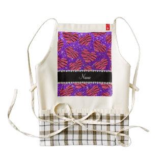 Cebra púrpura del brillo del añil rosado conocido delantal zazzle HEART