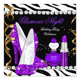"""Cebra púrpura del negro del oro del brillo de la invitación 5.25"""" x 5.25"""""""