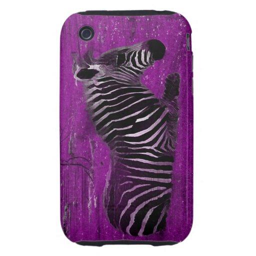 Cebra púrpura iPhone 3 tough carcasas