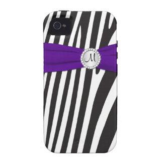 Cebra púrpura, negra, blanca con monograma rayada vibe iPhone 4 carcasas
