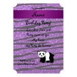 Cebra púrpura personalizada del brillo de la panda invitación