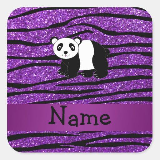 Cebra púrpura personalizada del brillo de la panda calcomania cuadradas personalizada