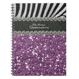 Cebra púrpura Quinceanera personalizado Libretas Espirales