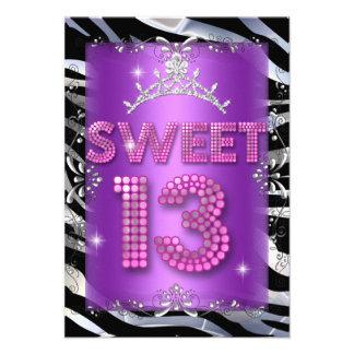 Cebra púrpura rosada del décimotercero cumpleaños comunicado