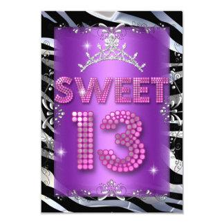 """Cebra púrpura rosada del décimotercero cumpleaños invitación 3.5"""" x 5"""""""
