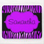 Cebra púrpura y negra personalizada tapetes de ratones