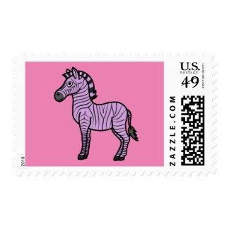 Cebra purpúrea clara con las rayas negras sello postal
