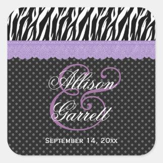 Cebra que casa el boda púrpura del cordón pegatina cuadrada