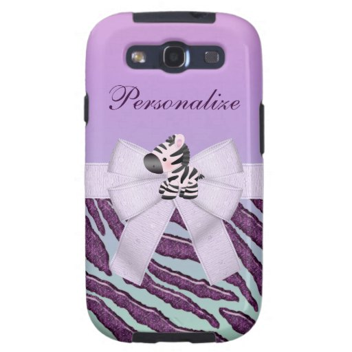Cebra, rayas animales púrpuras y arco impreso samsung galaxy s3 cárcasas