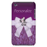 Cebra, rayas animales púrpuras y arco impreso iPod Case-Mate funda