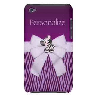 Cebra rayas animales púrpuras y arco impreso iPod Case-Mate funda