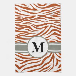 Cebra roja del safari del moho con el monograma toallas de cocina