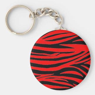 Cebra roja en negro y rojo llavero redondo tipo pin