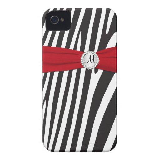 Cebra roja, negra, blanca con monograma rayada iPhone 4 Case-Mate fundas