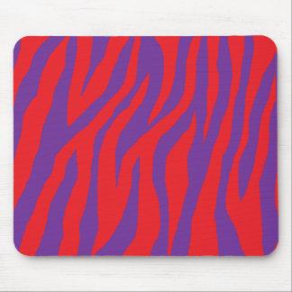 Cebra roja y púrpura salvaje mouse pad