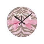 Cebra rosa clara y de Brown con el arco de la cint Reloj