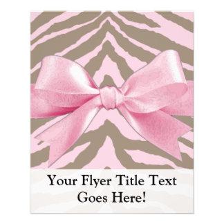 Cebra rosa clara y de Brown con el arco de la Tarjetones