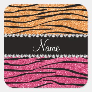 Cebra rosada anaranjada en colores pastel conocida pegatinas cuadradas