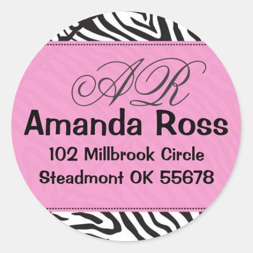 Cebra rosada con iniciales etiqueta