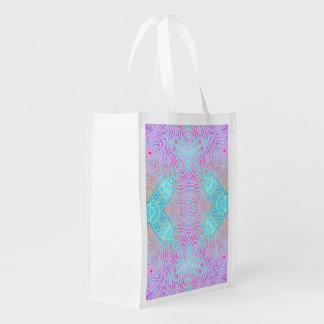 Cebra rosada de la turquesa bolsa de la compra