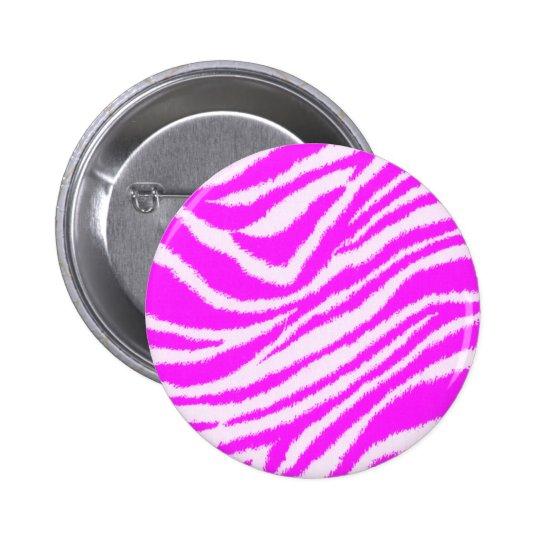 Cebra rosada de neón pin redondo de 2 pulgadas