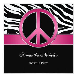 """Cebra rosada del negro del signo de la paz del invitación 5.25"""" x 5.25"""""""