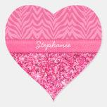 Cebra rosada glamorosa calcomanía de corazón