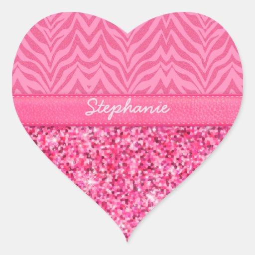 Cebra rosada glamorosa calcomania de corazon